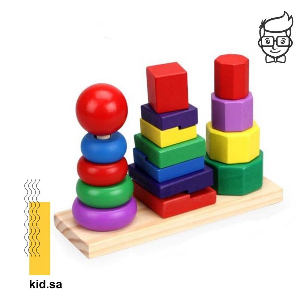 لعبة برج الأشكال والتركيز من ألعاب الذكاء للطفل