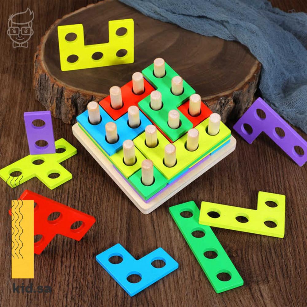 لعبة تيتريس خشبي من العاب تعليمية للاطفال